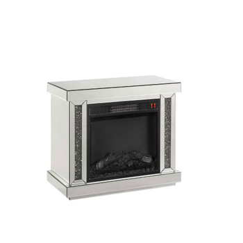 ACME Noralie Fireplace, LED, Mirrored & Faux Diamonds