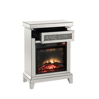 ACME 90866 Noralie Fireplace, Mirrored & Faux Diamonds