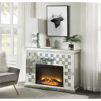 ACME 90872 Noralie Fireplace, Mirrored & Faux Diamonds