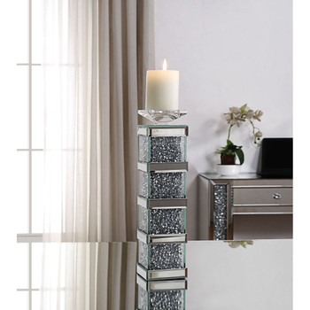ACME 97620 Noralie Accent Candleholder (Set-2), Mirrored & Faux Diamonds
