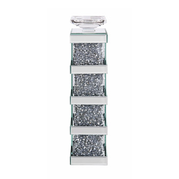 ACME Noralie Accent Candleholder (Set-2), Mirrored & Faux Diamonds
