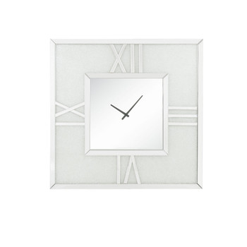 ACME Noralie Wall Clock w/LED, Mirrored & Faux Diamonds