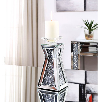 ACME 97617 Nowles Accent Candleholder (Set-2), Mirrored & Faux Stones