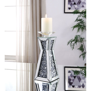 ACME 97618 Nowles Accent Candleholder (Set-2), Mirrored & Faux Stones