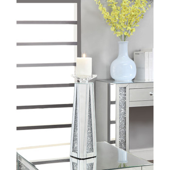 ACME 97624 Nowles Accent Candleholder (Set-2), Mirrored & Faux Stones