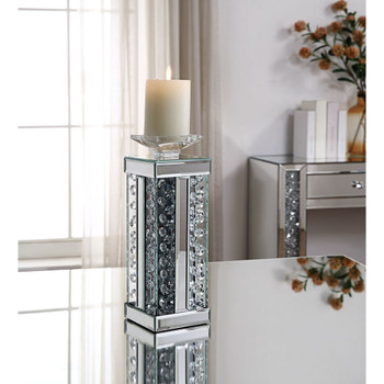 ACME 97621 Nysa Accent Candleholder (Set-2), Mirrored & Faux Crystals