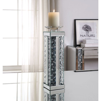 ACME 97622 Nysa Accent Candleholder (Set-2), Mirrored & Faux Crystals
