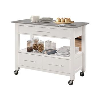 ACME Ottawa Kitchen Cart, Stainless Steel & White