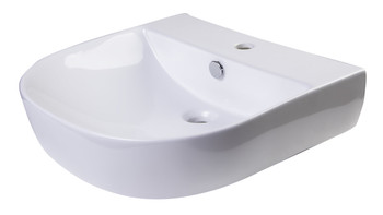 "ALFI brand AB110  20"" White D-Bowl Porcelain Wall Mounted Bath Sink"