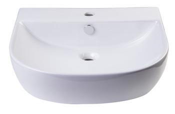 "ALFI brand AB110  20"" White D-Bowl Porcelain Wall Mounted Bath Sink"