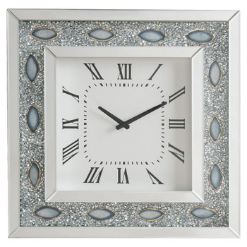 ACME Sonia Wall Clock, Mirrored & Faux Agate