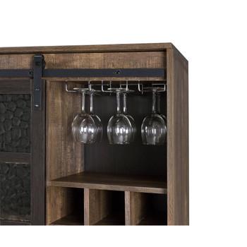 ACME 97836 Treju Wine Cabinet, Obscure Glass, Rustic Oak & Black Finish