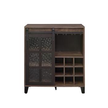 ACME Treju Wine Cabinet, Obscure Glass, Rustic Oak & Black Finish