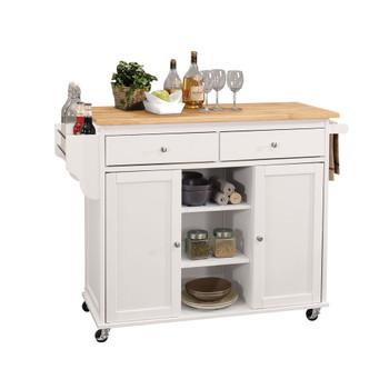 ACME Tullarick Kitchen Cart, Natural & White