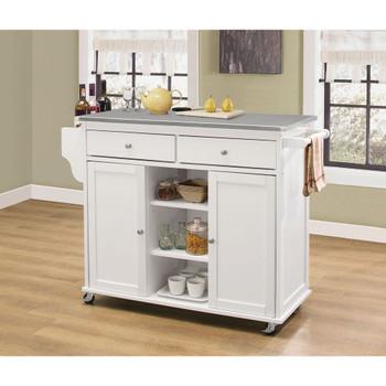 ACME 98307 Tullarick Kitchen Cart, Stainless Steel & White