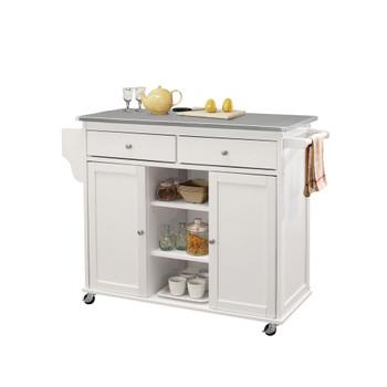 ACME Tullarick Kitchen Cart, Stainless Steel & White