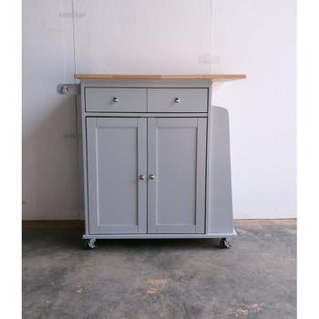 ACME Tullarick Kitchen Cart, Natural & Gray
