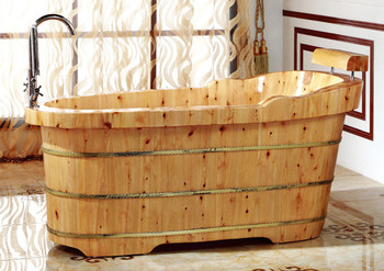 "ALFI brand AB1139 61"" Free Standing Cedar Wooden Bathtub  with Fixtures & Headrest"