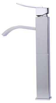 ALFI brand AB1158-PC Tall Polished Chrome Tall Square Body Curved Spout Single Lever Bathroom Faucet