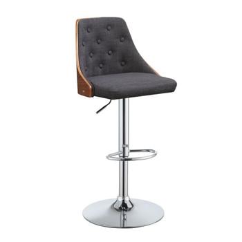 "ACME Camila Adjustable Stool w/Swivel (1Pc), Linen & Walnut, 25""~33"" Seat Height"