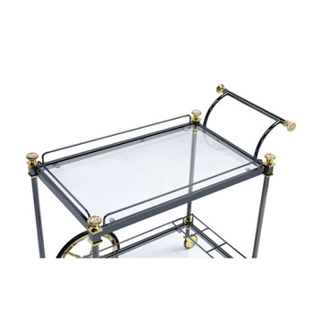 ACME 98370 Cyrus Serving Cart, Black/Gold & Clear Glass