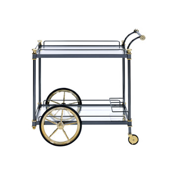 ACME Cyrus Serving Cart, Black/Gold & Clear Glass