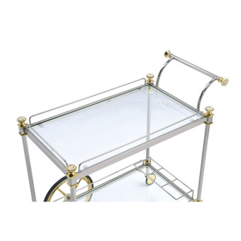 ACME 98372 Cyrus Serving Cart, Silver/Gold & Clear Glass