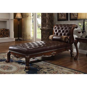 ACME Dresden Chaise w/1 Pillow, PU & Cherry Oak