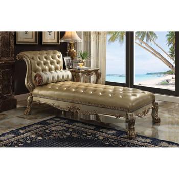 ACME Dresden Chaise w/1 Pillow, Bone PU & Gold Patina