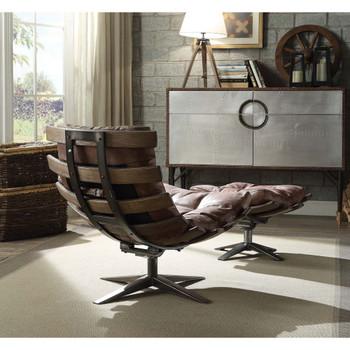 ACME 59530 Gandy 2 Piece Pack Chair & Ottoman, Retro Brown Top Grain Leather