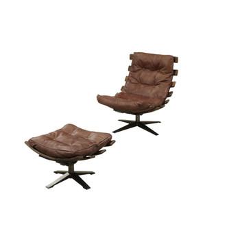 ACME Gandy 2Pc Pack Chair & Ottoman, Retro Brown Top Grain Leather