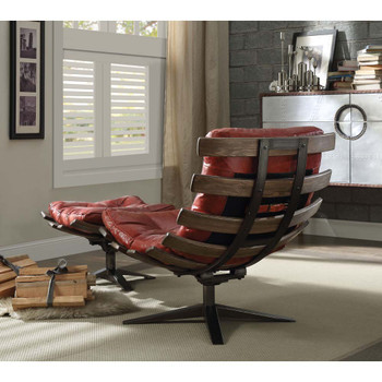 ACME 59531 Gandy 2 Piece Pack Chair & Ottoman, Antique Red Top Grain Leather