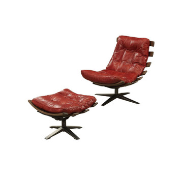 ACME Gandy 2Pc Pack Chair & Ottoman, Antique Red Top Grain Leather