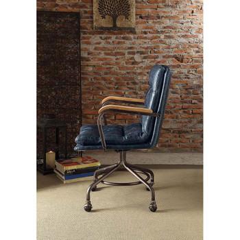 ACME 92417 Harith Executive Office Chair, Vintage Blue Top Grain Leather