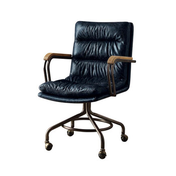 ACME Harith Executive Office Chair, Vintage Blue Top Grain Leather