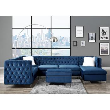 ACME 57345 Jaszira Ottoman, Blue Velvet