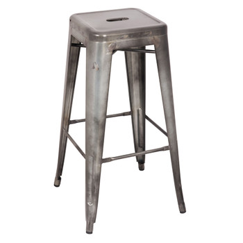 "ACME Kiara Bar Stool (Set-2), Antique Silver, 30"" Seat Height"