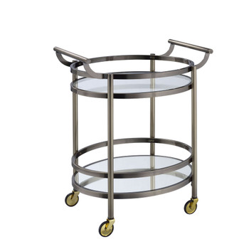 ACME 98190 Lakelyn Serving Cart, Brushed Bronze & Clear Glass