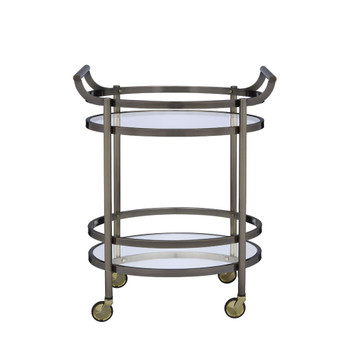 ACME Lakelyn Serving Cart, Brushed Bronze & Clear Glass