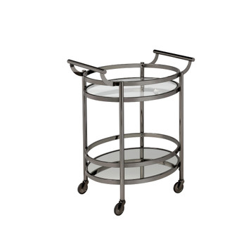 ACME 98191 Lakelyn Serving Cart, Black Nickel & Clear Glass