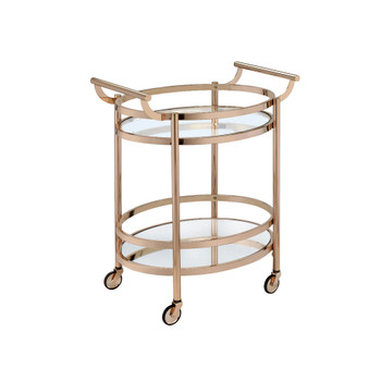 ACME 98192 Lakelyn Serving Cart, Rose Gold & Clear Glass