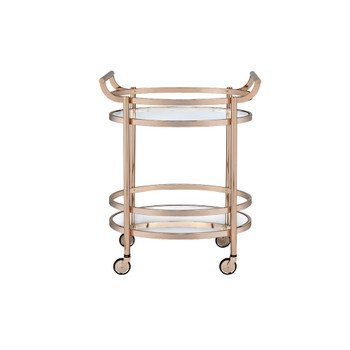 ACME Lakelyn Serving Cart, Rose Gold & Clear Glass