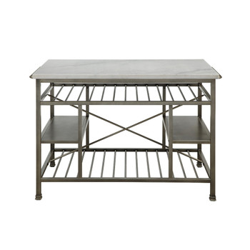ACME Lanzo Kitchen Island (Counter), Marble & Antique Pewter