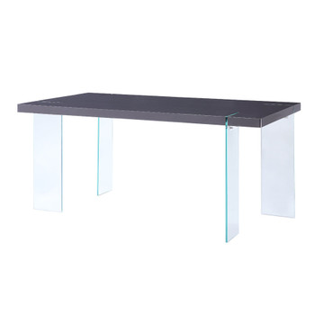 ACME 72190 Noland - Dining Table, White High Gloss & Clear Glass (1Set/2Ctn)