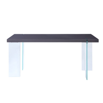 ACME Noland - Dining Table, White High Gloss & Clear Glass (1Set/2Ctn)