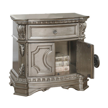 ACME Northville Nightstand w/Wooden Top, Antique Silver