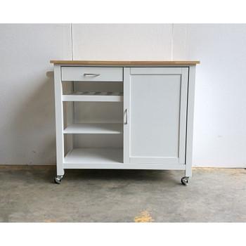 ACME Ottawa Kitchen Cart, Natural & White