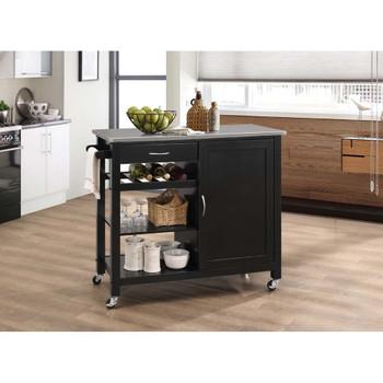 ACME 98317 Ottawa Kitchen Cart, Stainless Steel & Black