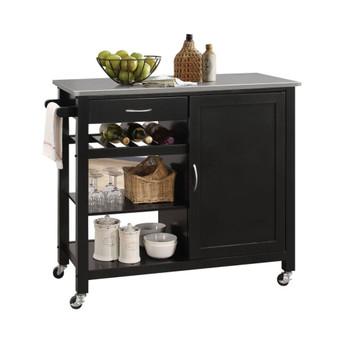 ACME Ottawa Kitchen Cart, Stainless Steel & Black