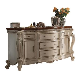 ACME Picardy Dresser, Antique Pearl & Cherry Oak